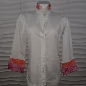 Pearly Vine Cotton Button Down Blouse